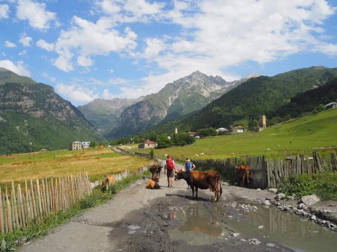 Camino en el trekking Mestia a uSHGULI
